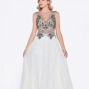 Jeweled Lace Long Prom Dress CDJ748